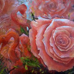 Пазл онлайн: Роза и фламинго