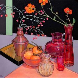 Пазл онлайн: Натюрморт с хурмой, цветами и вазами