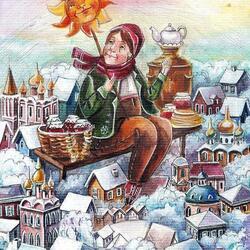 Пазл онлайн: Февраль. Масленица в России