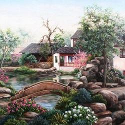 Пазл онлайн: Дом у ручья