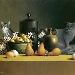 Пазл онлайн: Натюрморт с кошками