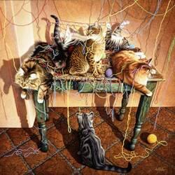 Пазл онлайн: Кошачья забава