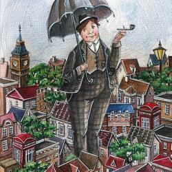 Пазл онлайн: Дождливый апрель в Лондоне