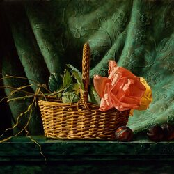 Пазл онлайн: Корзинка с розами