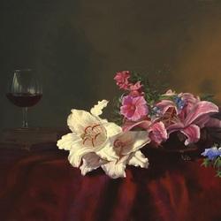 Пазл онлайн: Вино и букет