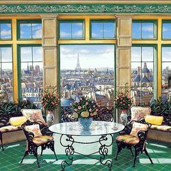 Пазл онлайн: Гостиная с видом на Париж