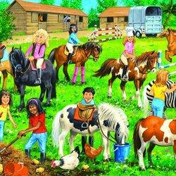 Пазл онлайн: Дети на конюшне
