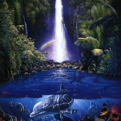 Пазл онлайн: У водопада