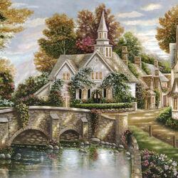 Пазл онлайн: Старый дом у моста