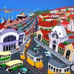 Пазл онлайн: Лиссабонские трамваи