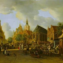 Пазл онлайн: Рынок у собора св. Якоба в Гааге