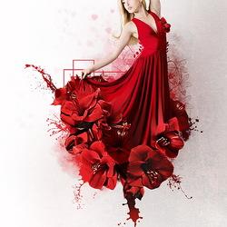 Пазл онлайн: Красный цветок