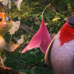 Пазл онлайн: Цыпленок и попугай
