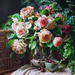 Пазл онлайн: Натюрморт с розами и вишнями
