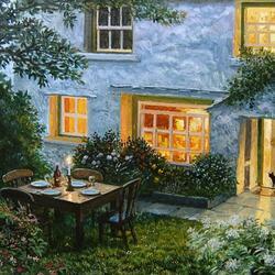 Пазл онлайн: Вечер в саду