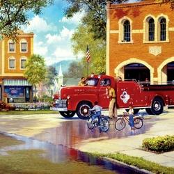 Пазл онлайн: Пожарная машина