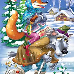 Пазл онлайн: Волк и лиса