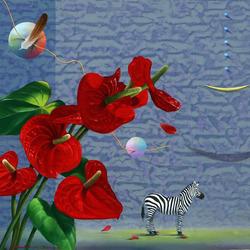Пазл онлайн: Антуриум и зебра