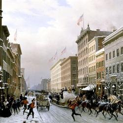 Пазл онлайн: Нью-Йорк в 1855 году