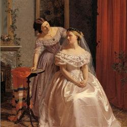 Пазл онлайн: Подруга наряжает невесту