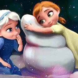 Пазл онлайн: Маленькие Эльза и Анна