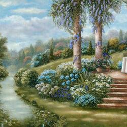 Пазл онлайн: Синий сад