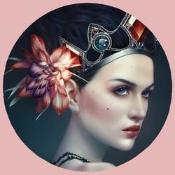 Пазл онлайн: Девушка с цветком