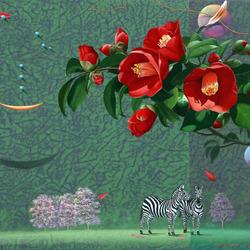 Пазл онлайн: Красное цветение