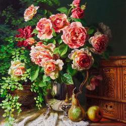 Пазл онлайн: Натюрморт с розами и фруктами