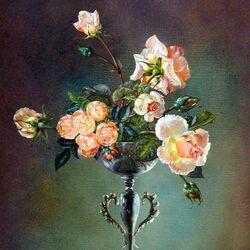 Пазл онлайн: Розы в изящной вазе