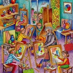 Пазл онлайн: Рисуют все