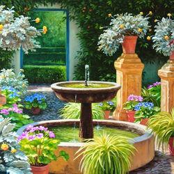 Пазл онлайн: Фонтан в саду