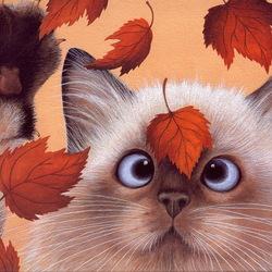 Пазл онлайн: Кот и листик