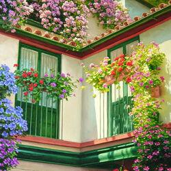 Пазл онлайн: Цветущие окна