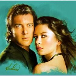Пазл онлайн: Антонио Бандерас и Кэтрин Зета-Джонс в роли Zorro и Elena
