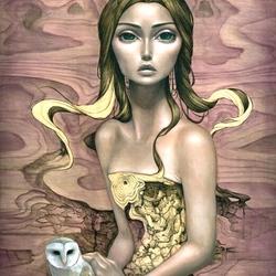 Пазл онлайн: Девушка с совой