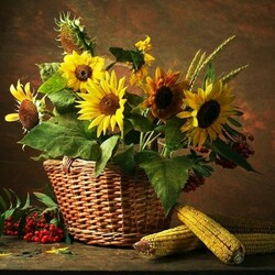 Пазл онлайн: Натюрморт с кукурузой
