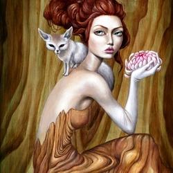 Пазл онлайн: Девушка с лисичкой