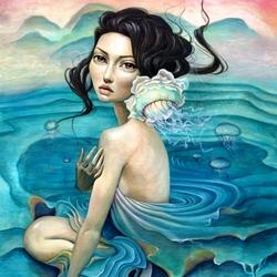 Пазл онлайн: Девушка-медуза