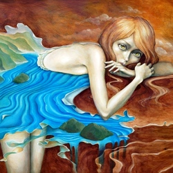 Пазл онлайн: Девушка-река