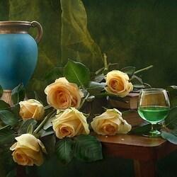 Пазл онлайн: Розы и абсент