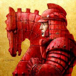 Пазл онлайн: Красный конь