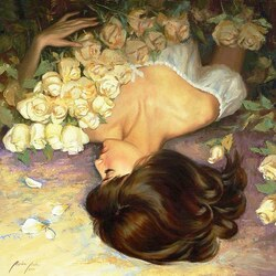 Пазл онлайн: Белые розы