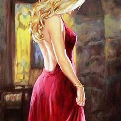 Пазл онлайн: Блондинка в красном