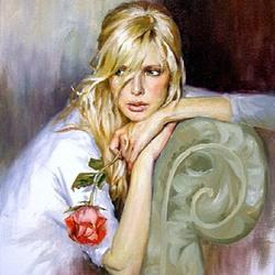 Пазл онлайн: Блондинка с розой