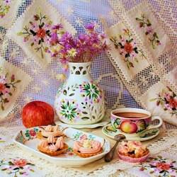 Пазл онлайн:  Корзиночки с чаем