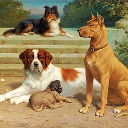 Пазл онлайн: Hundar vid trappa / Собаки на лестнице