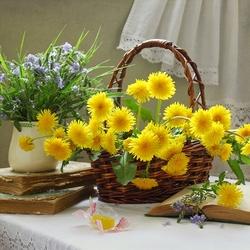 Пазл онлайн: Солнышки в корзинке