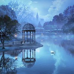 Пазл онлайн: Туманный пруд