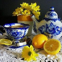 Пазл онлайн: Чайный натюрморт